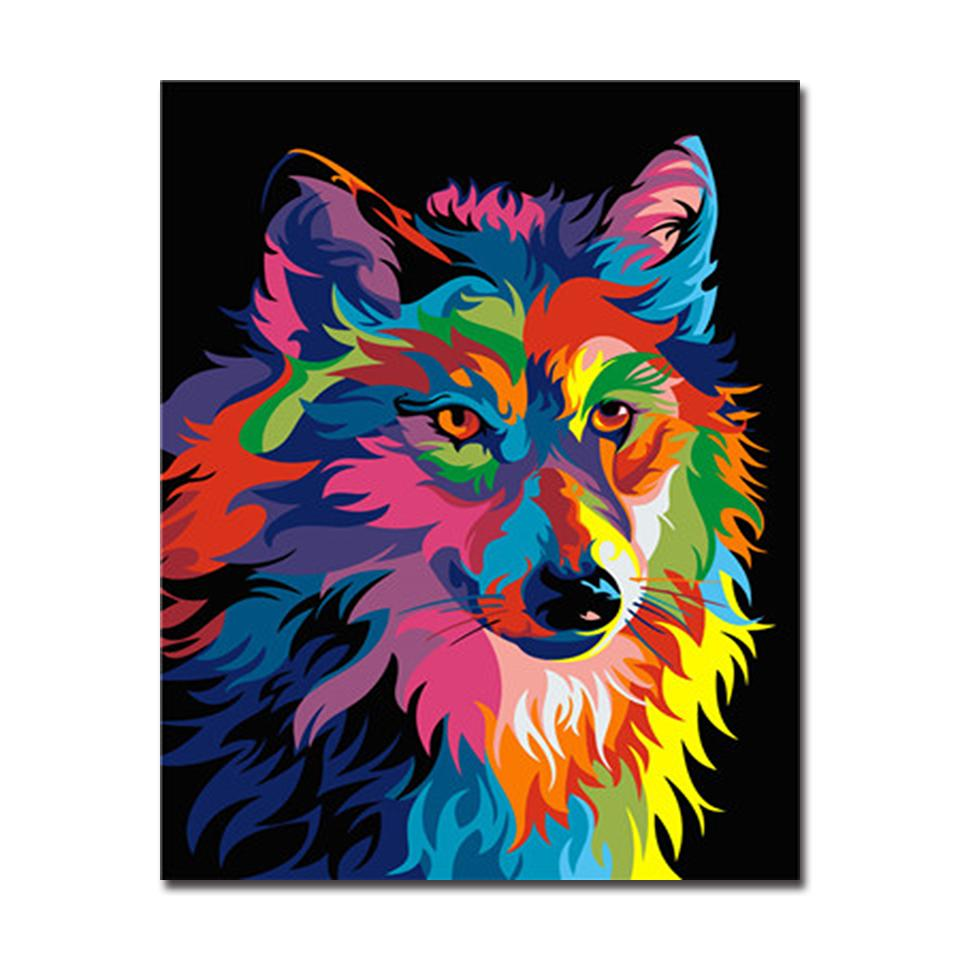 Colorful Animal Wolf Diy Painting By Numbers Kit Canvasx Net