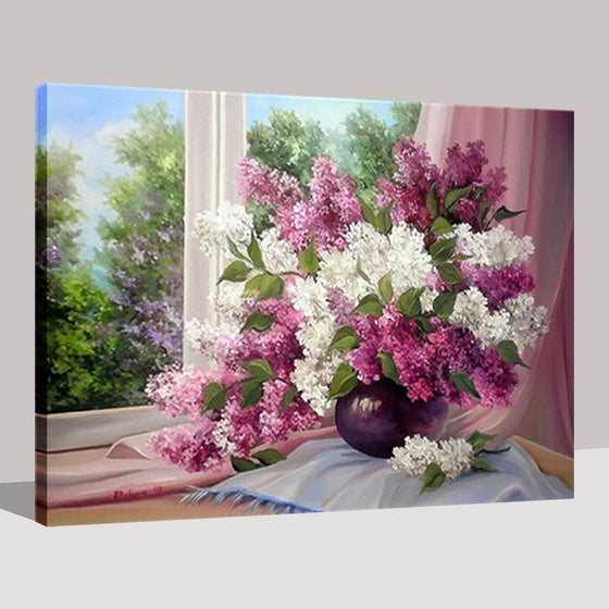 Beautiful Lilac Window - DIY Painting by Numbers Kit