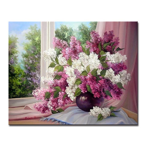 Painting by numbers flowers wall art do it yourself canvas beautiful lilac window diy painting by numbers kit solutioingenieria Choice Image