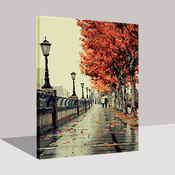 Autumn Street Tree Side Walk - DIY Painting by Numbers Kit