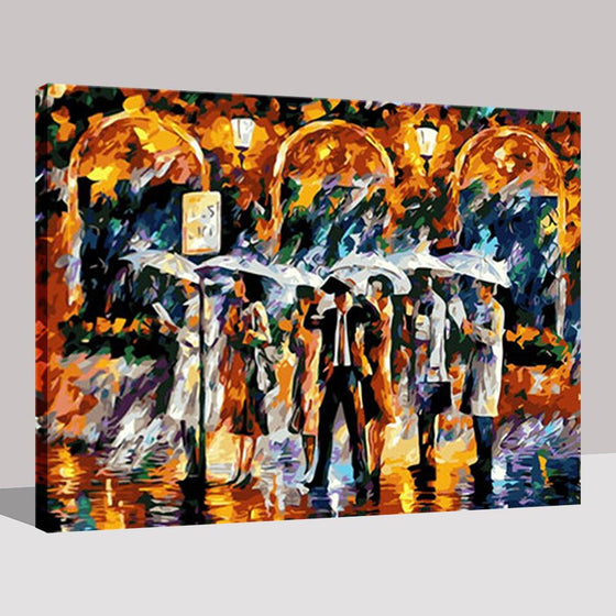 Bus Station Platform In The Rain Wall Art Ideas - DIY Painting by Numbers Kit