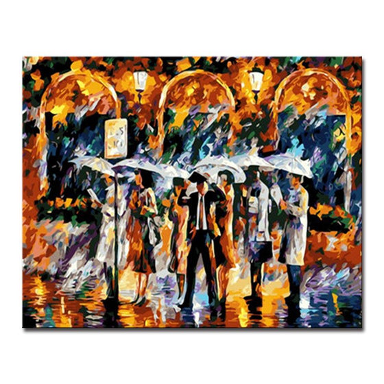 Bus Station Platform In The Rain Wall Art Prints - DIY Painting by Numbers Kit