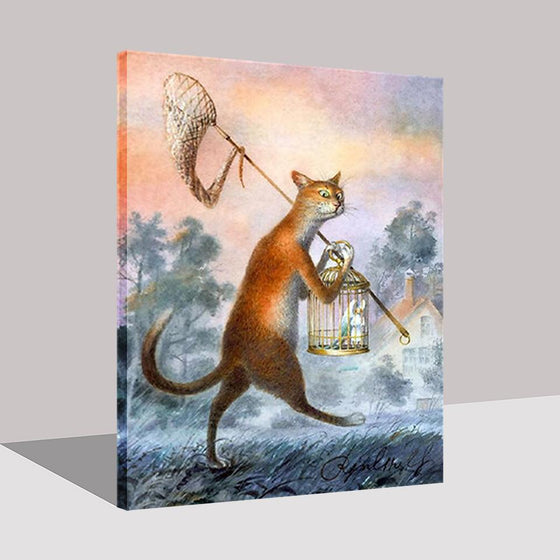 Cat Catches The Bird - DIY Painting by Numbers Kit
