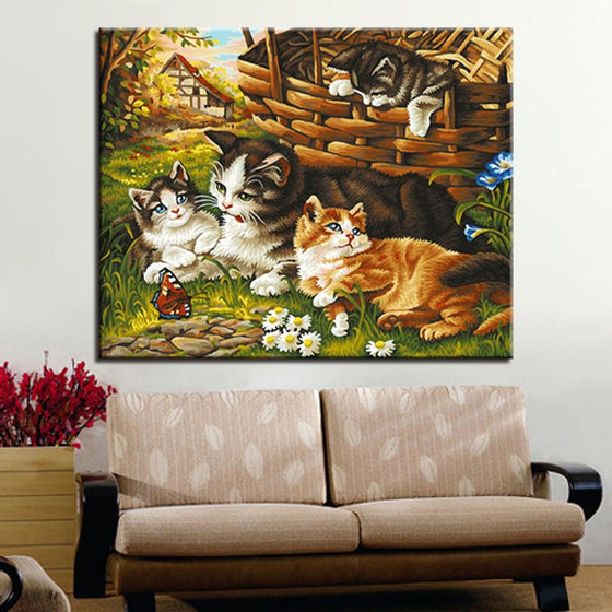 Cat Family Portrait - DIY Painting by Numbers Kit