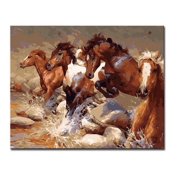 Aggressive Running Horses - DIY Painting by Numbers Kit
