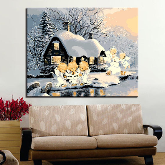Snowy Day Angels - DIY Painting by Numbers Kit