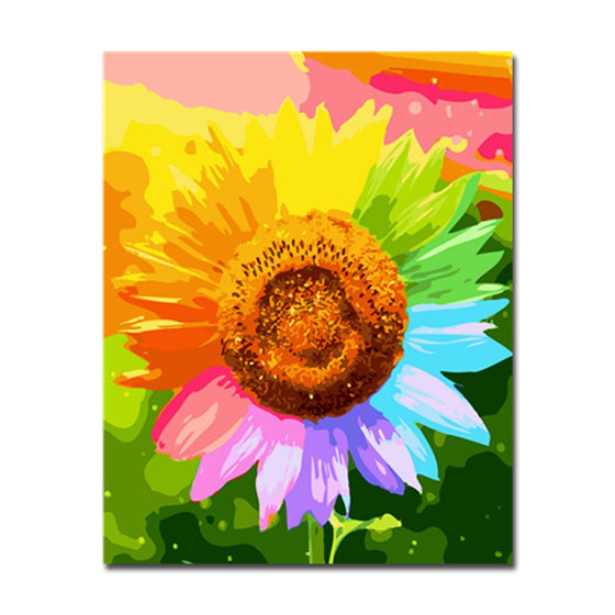 Colorful Sunflower Abstract - DIY Painting by Numbers Kit