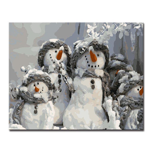 Cutie Snowman Family - DIY Painting by Numbers Kit