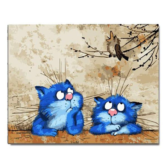Two Blue Cats And Bird - DIY Painting by Numbers Kit