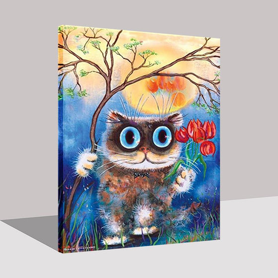 Cat With Big Blue Eyes - DIY Painting by Numbers Kit