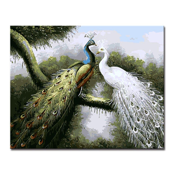Peafowl Couple - DIY Painting by Numbers Kit