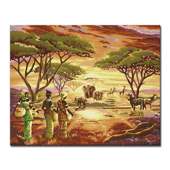 African Grasslands Animals - DIY Painting by Numbers Kit
