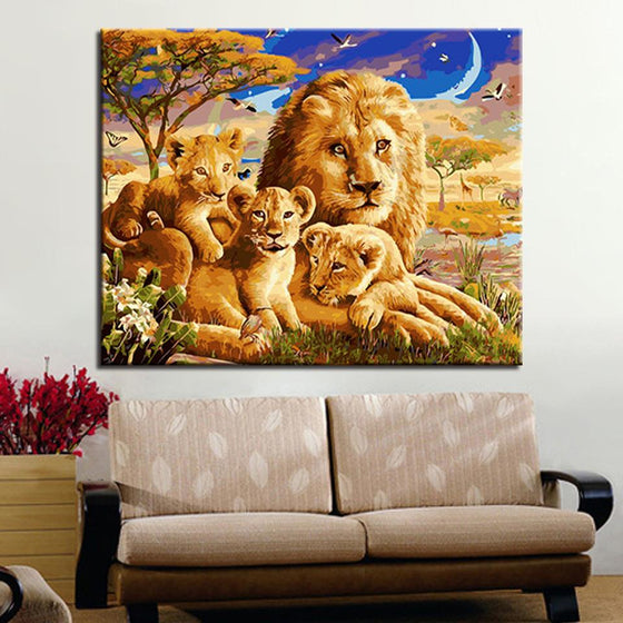 Lion Family Portrait - DIY Painting by Numbers Kit