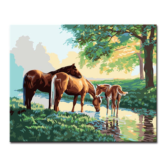 Horse Family Portrait - DIY Painting by Numbers Kit
