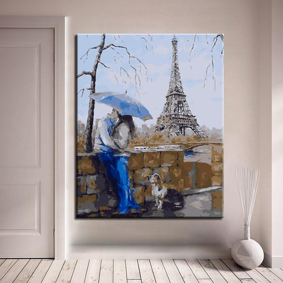 Lovers Kiss Under Eiffel Tower - DIY Painting by Numbers Kit