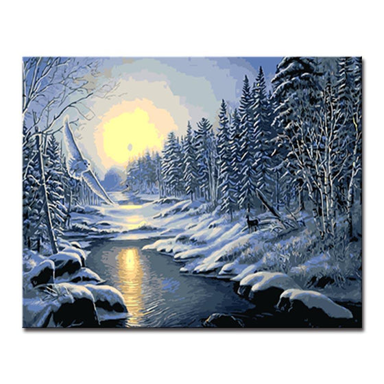 Snow Tree Landscape - DIY Painting by Numbers Kit