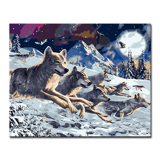 Full Moon Wolves - DIY Painting by Numbers Kit