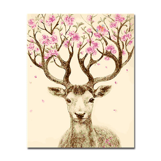 Peach Blossom Deer - DIY Painting by Numbers Kit