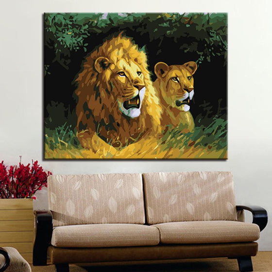 Angry Lion Couple's Roar - DIY Painting by Numbers Kit