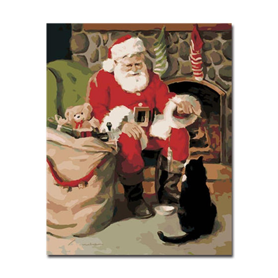 Santa Claus And Black Cat - DIY Painting by Numbers Kit