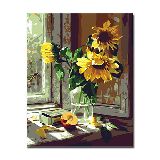 Painting by numbers flowers wall art do it yourself canvas window sunflower half apple diy painting by numbers kit solutioingenieria Images