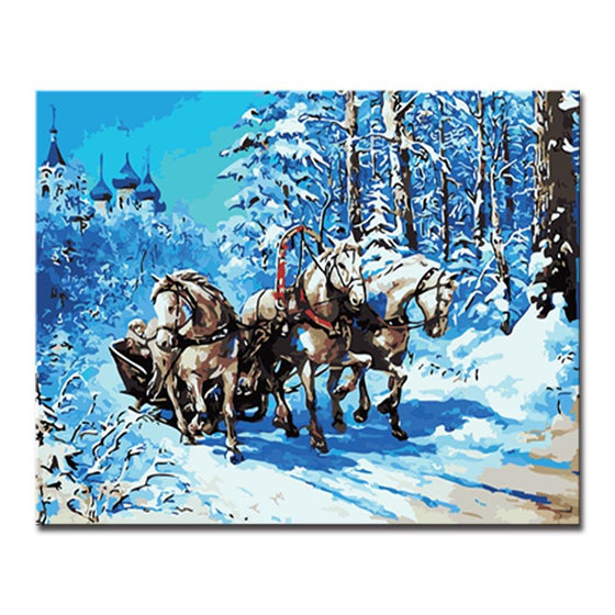 Winter Castle White Horse - DIY Painting by Numbers Kit