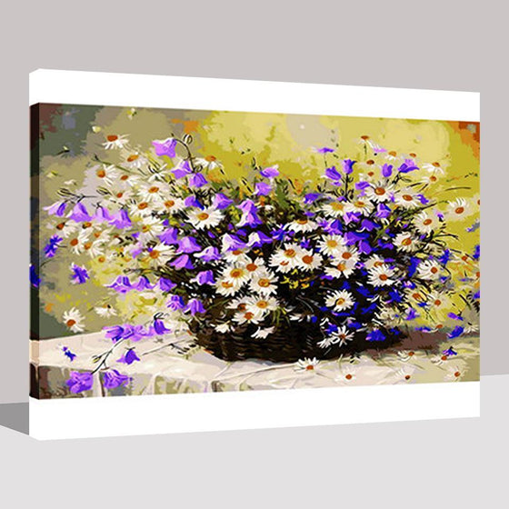 Purple Bell Orchid White Daisies - DIY Painting by Numbers Kit