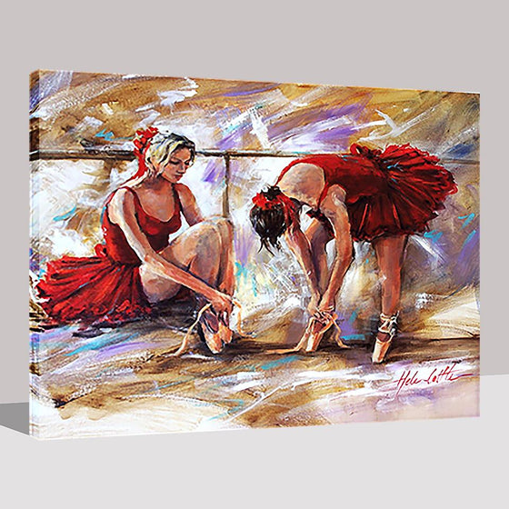 Two Ballerinas In Red Skirt - DIY Painting by Numbers Kit