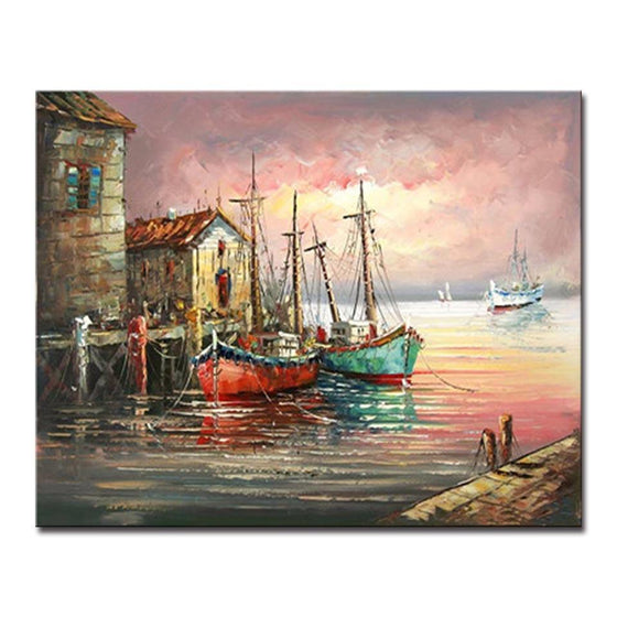 Sunset Fishing Boats - DIY Painting by Numbers Kit