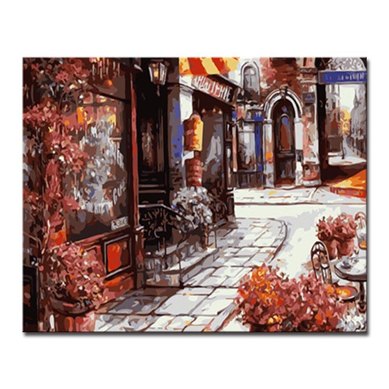 European Street Side Stores - DIY Painting by Numbers Kit
