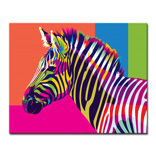 Painting by numbers canvas wall art do it yourself painting wall iridescence colorful zebra diy painting by numbers kit solutioingenieria Choice Image