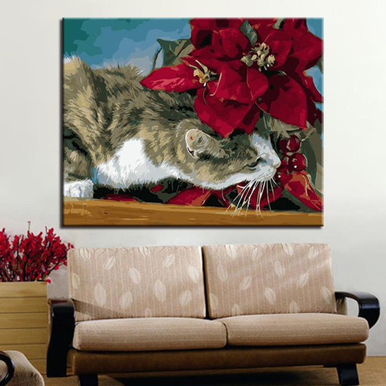 Sneaking Cat on Flowers - DIY Painting by Numbers Kit