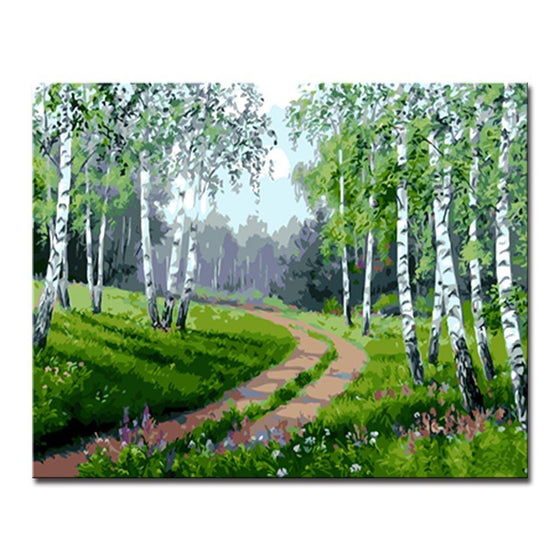 Forest Road Landscape - DIY Painting by Numbers Kit