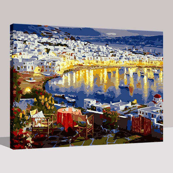 Seaside City Building Night View - DIY Painting by Numbers Kit