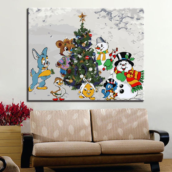 Christmas Snowman And Animals - DIY Painting by Numbers Kit