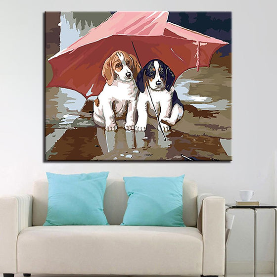 Cute Puppies Under Umbrella - DIY Painting by Numbers Kit