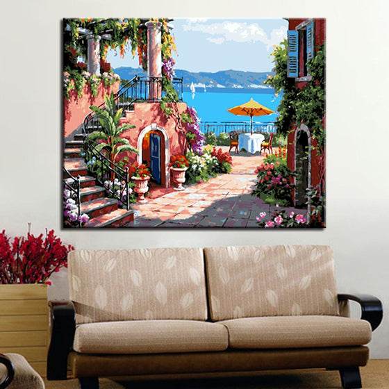 Holiday Manor Seascape - DIY Painting by Numbers Kit