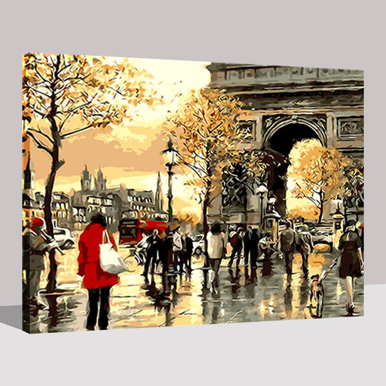 Paris Streets Sunset - DIY Painting by Numbers Kit