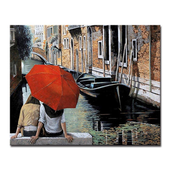 Shore side Couple in Red Umbrella - DIY Painting by Numbers Kit