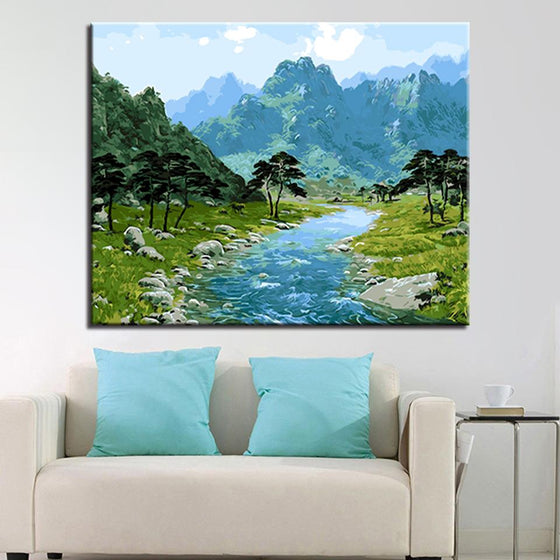 Stream Mountains Woods - DIY Painting by Numbers Kit