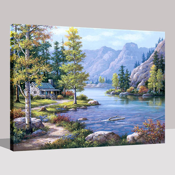 Stream Mountains Woods House - DIY Painting by Numbers Kit