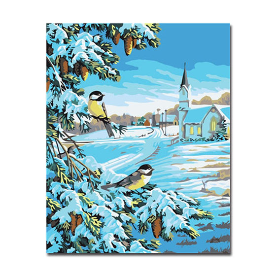 Snow Birds Scene - DIY Painting by Numbers Kit