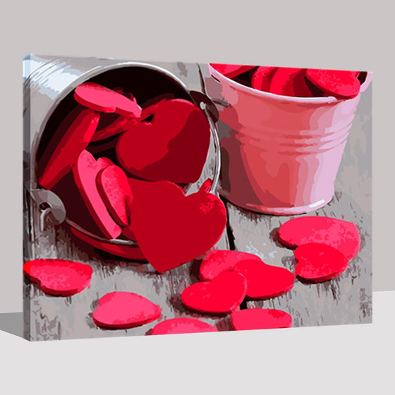 Bucket of Love Wall Art Decor- DIY Painting by Numbers Kit