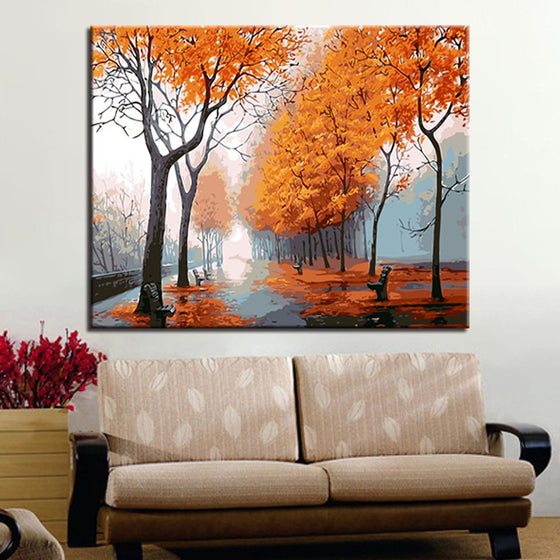 Romantic Autumn Trees - DIY Painting by Numbers Kit