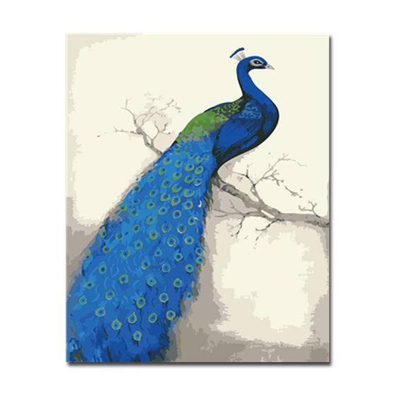 Blue Peacock Left - DIY Painting by Numbers Kit