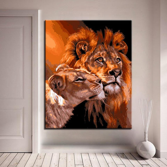 Lion & Tiger Couple - DIY Painting by Numbers Kit
