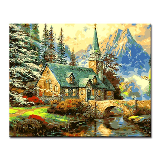 House Cottage Landscape - DIY Painting by Numbers Kit
