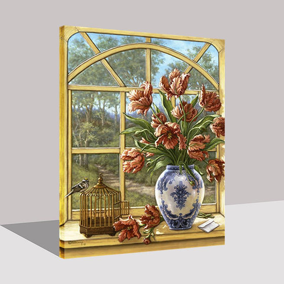 Window Flowers - DIY Painting by Numbers Kit