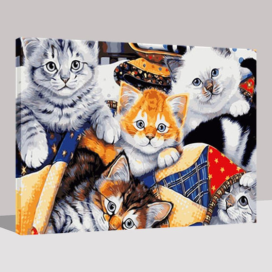 Lovely Plush Cats - DIY Painting by Numbers Kit