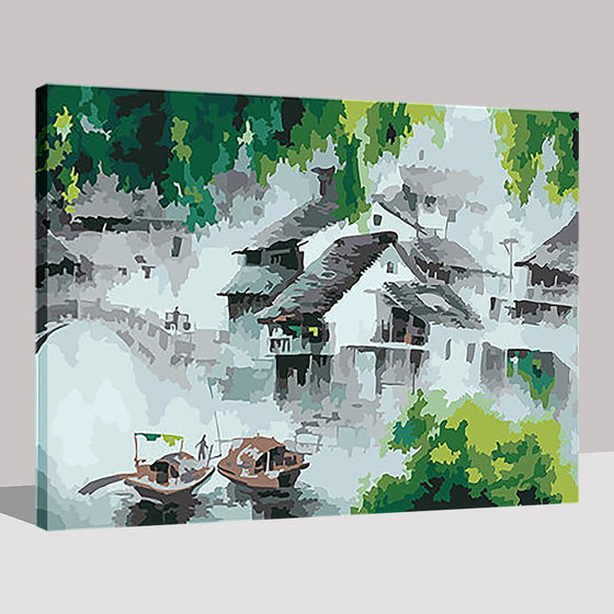 Water Village In Dream - DIY Painting by Numbers Kit